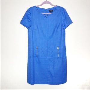 Tahari Blue Short Sleeve Shift Dress Size 10